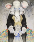 Der Heimlich Rat (To Whom Secrets are Revealed). 2011. Graphite, pastel, pencil, watercolor, gold leaf. 26 x 40 in.