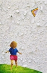 The Act of Flying a Kite. 2011. Oil painted on eggshells and broken glass glued to board.  36 x 26 x 2 in.